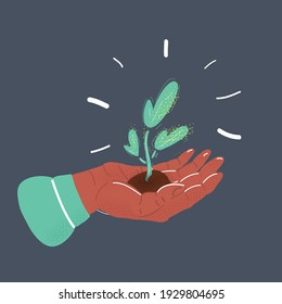 Cartoon vector illustration of plant in the hand on dark background