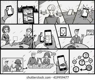 Cartoon. Vector illustration. Pop art retro style. Comic strip.