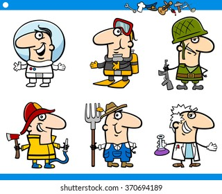 Cartoon Vector Illustration of Professional People Occupations Characters Set
