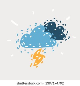 Cartoon vector illustration of Rain Weather. Thunder from The Sky. A Flash and cloud icon on white. Funny hand drawn picture. Object on isolated.