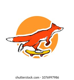 Cartoon vector illustration - Red fox riding a skateboard
