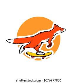 Cartoon vector illustration - Red fox riding a skateboard
