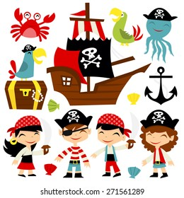 A cartoon vector illustration of retro pirate adventure theme set. Included in this set:- boy pirate, girl pirate, pirate ship, parrots, treasure chest, octopus and crab.