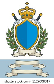 Cartoon Vector Illustration of a Royal Crest with a Kings Crown a Shield two Swords two olive branches and a blank Scroll. All elements on well-defined layers. Two additional Scroll sizes are included