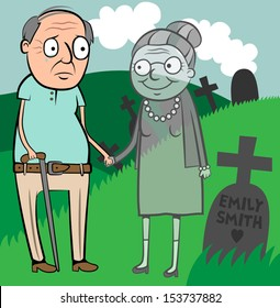 Cartoon vector illustration of sad old man crying because his wife died, grieving widower