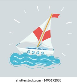 Cartoon vector illustration of sailing boat race on white background on white bacgkround.
