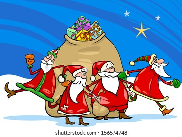Cartoon Vector Illustration of Santa Claus Group Christmas Characters with Big Sack of Gifts