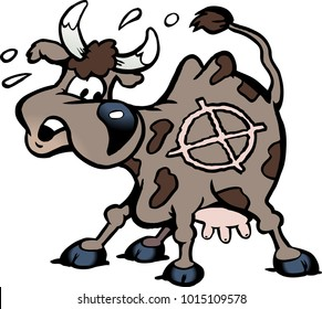 Cartoon Vector illustration of a a scared cow in the shot line