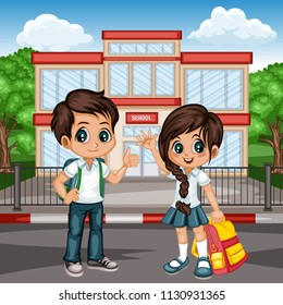 Cartoon Vector Illustration of a School Boy and Girl with Backpacks in front of School Building. Cute Students Waving and Showing Thumb Up. Back to School Cartoon Concept
