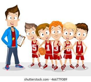 Cartoon vector illustration of school boys basketball team standing with their coach