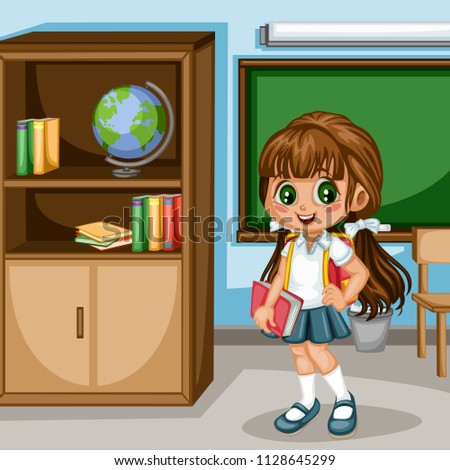 Cartoon Vector Illustration of a School Girl with Backpack and Book. Cute  Student Character in 1fa090e02ae39