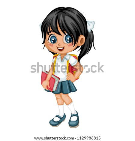 Cartoon Vector Illustration of a School Girl with Backpack and Book. Cute  Student Character Isolated 9b737b019fb24