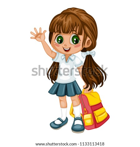 Cartoon Vector Illustration of a School Girl with Backpack. Cute Student  Character Waving Isolated on 9388599c60fcb