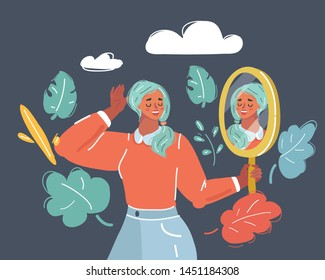 Cartoon vector illustration of Self love Women. Self Love, Confidence and Concept. Human face on dark background.