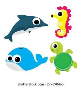 A cartoon vector illustration set of four cute cartoon sea life like dolphin, sea horse, whale and turtle.
