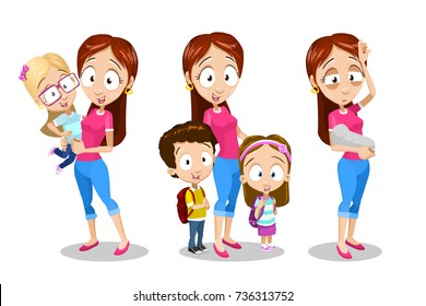 Cartoon vector illustration set of mother with children in different poses and situation. Flat style. Isolated on white background