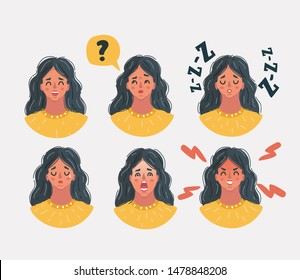 Cartoon vector illustration of Set of woman's female faces emotions. Facial expression. Avatar icon. Laughing, falling asleep, sad, angry, scared, boredom, surprised, furious