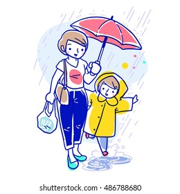 Cartoon vector illustration of short haired mother holding a red umbrella and carrying a plastic bag in another hand with her daughter in yellow raincoat walking together while raining.
