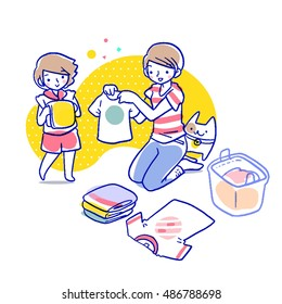 Cartoon vector illustration of short haired mother showing her daughter how to fold the tshirt, beside them is folded clothes, a basket and a cat.