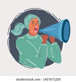 Cartoon vector illustration of shout icon vector. Woman shouts in megaphone.