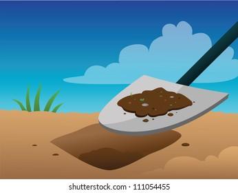 cartoon vector illustration of a shovel digging
