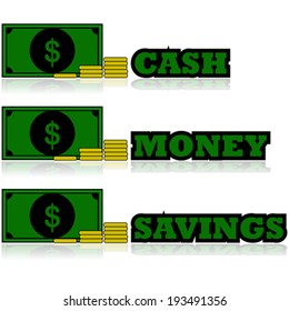 Cartoon vector illustration showing a bill with some coins and words like cash, money and savings