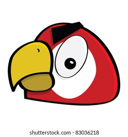 Cartoon vector illustration showing a close-up of the face of an angry red macaw
