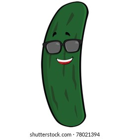Cartoon vector illustration showing a cool cucumber sporting a pair of sunglasses