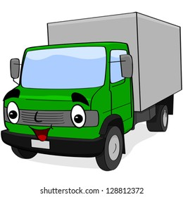 Cartoon vector illustration showing a happy green truck