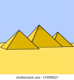 Cartoon vector illustration showing three Egyptian pyramids in the middle of the desert