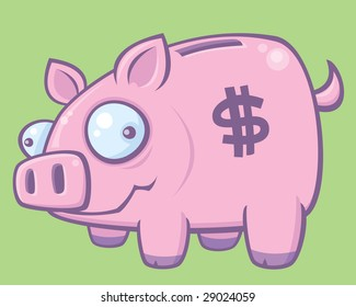 Cartoon vector illustration of a silly piggy bank.
