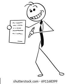 Cartoon vector illustration of sleazy smiling stick man businessman or salesman offering contract or agreement paper to signing.