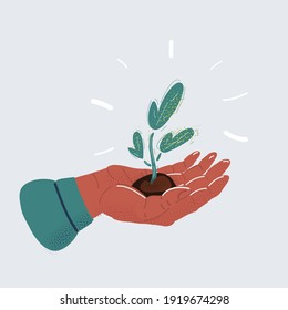 Cartoon vector illustration of small plant in palm of human hand on white background.
