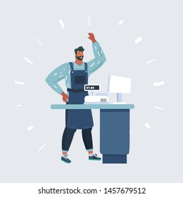 Cartoon vector illustration of smiling shopkeeper in a grocery store. Male cashier on isolated white background.