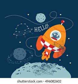 Cartoon vector illustration of space for children.Hand drawn. Astronaut and aliens have a little chat at space.