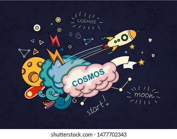 Cartoon vector illustration of space. Moon, planet, rocket, earth, cosmonaut, comet, universe. Classification, milky way. Hand drawn. Abstract. Comics.