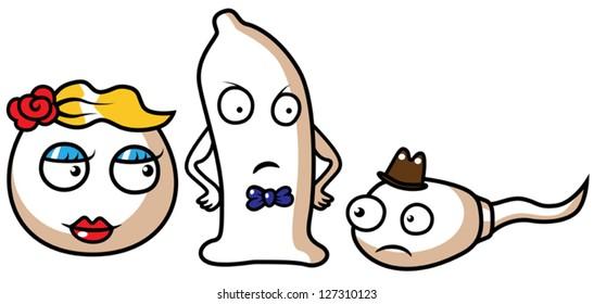 Cartoon vector illustration of a sperm, egg and condom, safe sex concept