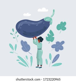 Cartoon vector illustration of Spring avitaminosis and lack of cellulose. Woman thinking about nutrition, standing with eggplant on white.