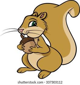 cartoon vector illustration of a squirrel nut
