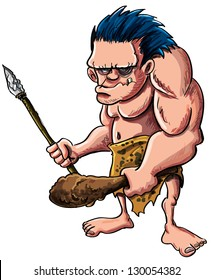 Cartoon vector illustration of a stooped muscular caveman or troglodyte in an animal skin loincloth brandishing a wooden cudgel and stone tipped spear isolated on white