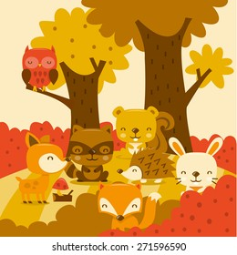 A cartoon vector illustration of super cute woodland creatures in whimsy forest.