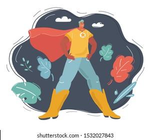 Cartoon vector illustration of Superhero on dark background.