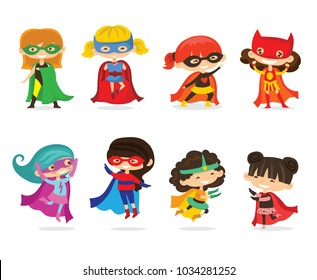 Cartoon vector illustration of Superheros Kid Girls wearing comics costumes isolated on the white background.