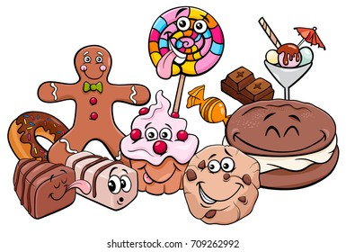 Cartoon Vector Illustration of Sweet Food like Cakes and Cookies Characters
