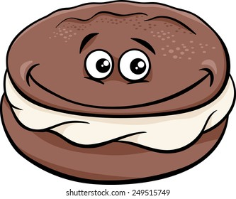 Cartoon Vector Illustration of Sweet Whoopie Chocolate Pie with Cream Clip Art