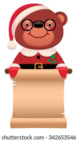 Cartoon vector illustration Teddy bear Santa Claus with Christmas scroll isolated on white background