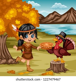 Cartoon Vector Illustration of a Thanksgiving Scene. American Indian Girl and a Turkey Wearing a Pilgrim Hat and Holding a Thanksgiving Pie on a Fall Background. Little Native Girl, Tree, Hills, Lake