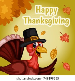 Cartoon Vector Illustration of a Thanksgiving Scene.Turkey Wearing a Pilgrim Hat on a Fall Background