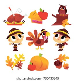 A cartoon vector illustration of thanksgiving theme fall set with cute kids dressed as pilgrims, turkey and thanksgiving design elements.