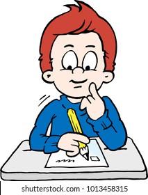 Cartoon Vector illustration of a thoughtful School Boy